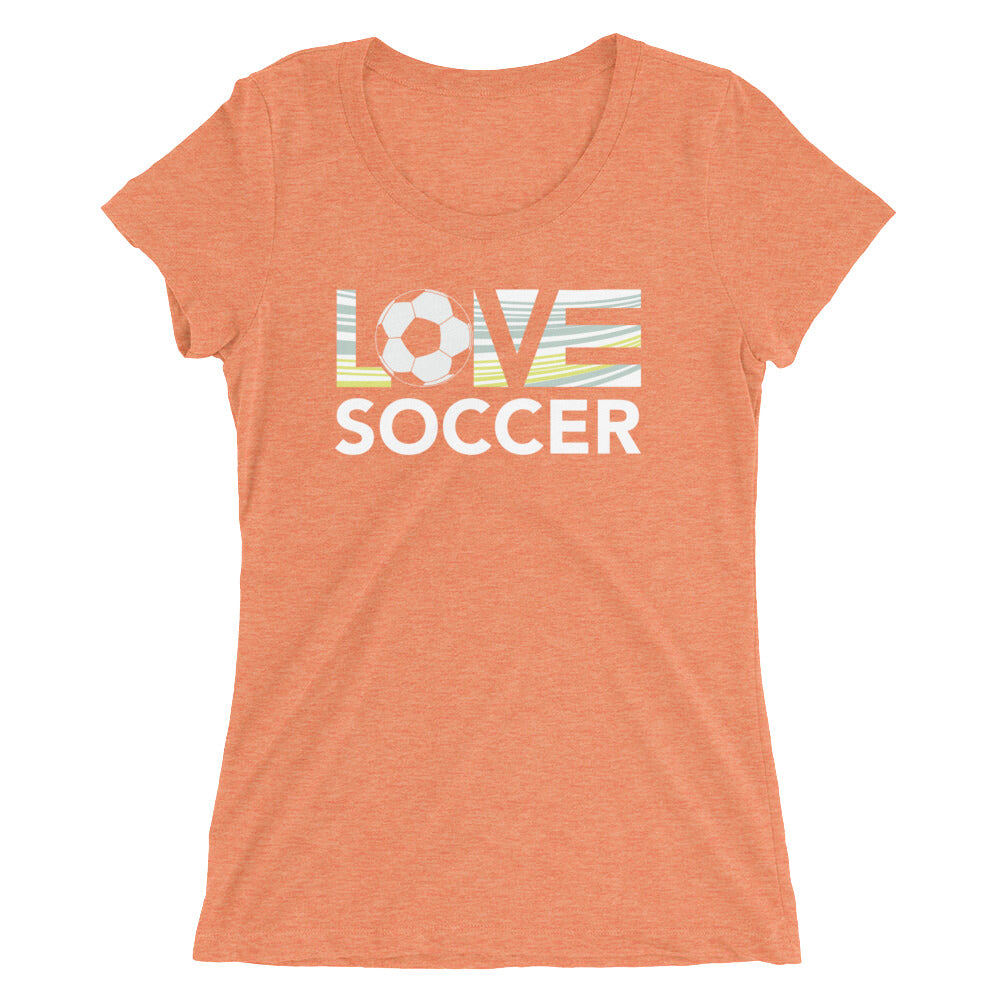 Orange LOV=Soccer Ultra Slim Fit Triblend Tee