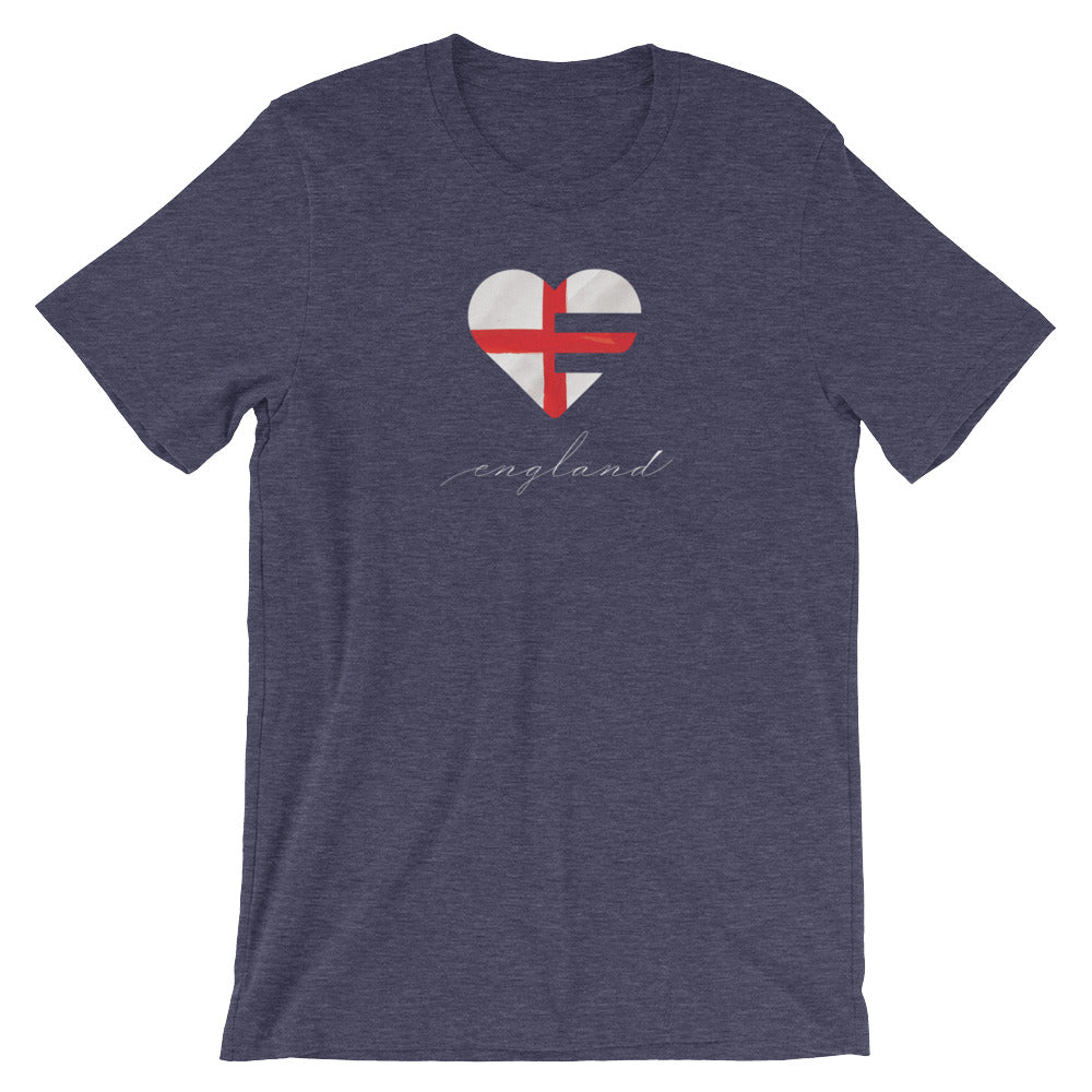 Heather Midnight Navy England Heart Unisex Tee