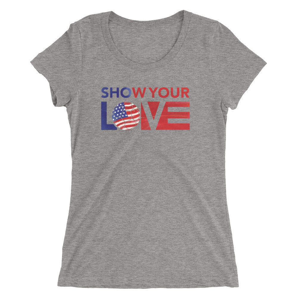 Grey Show Your Love USA Ultra Slim Fit Triblend Tee