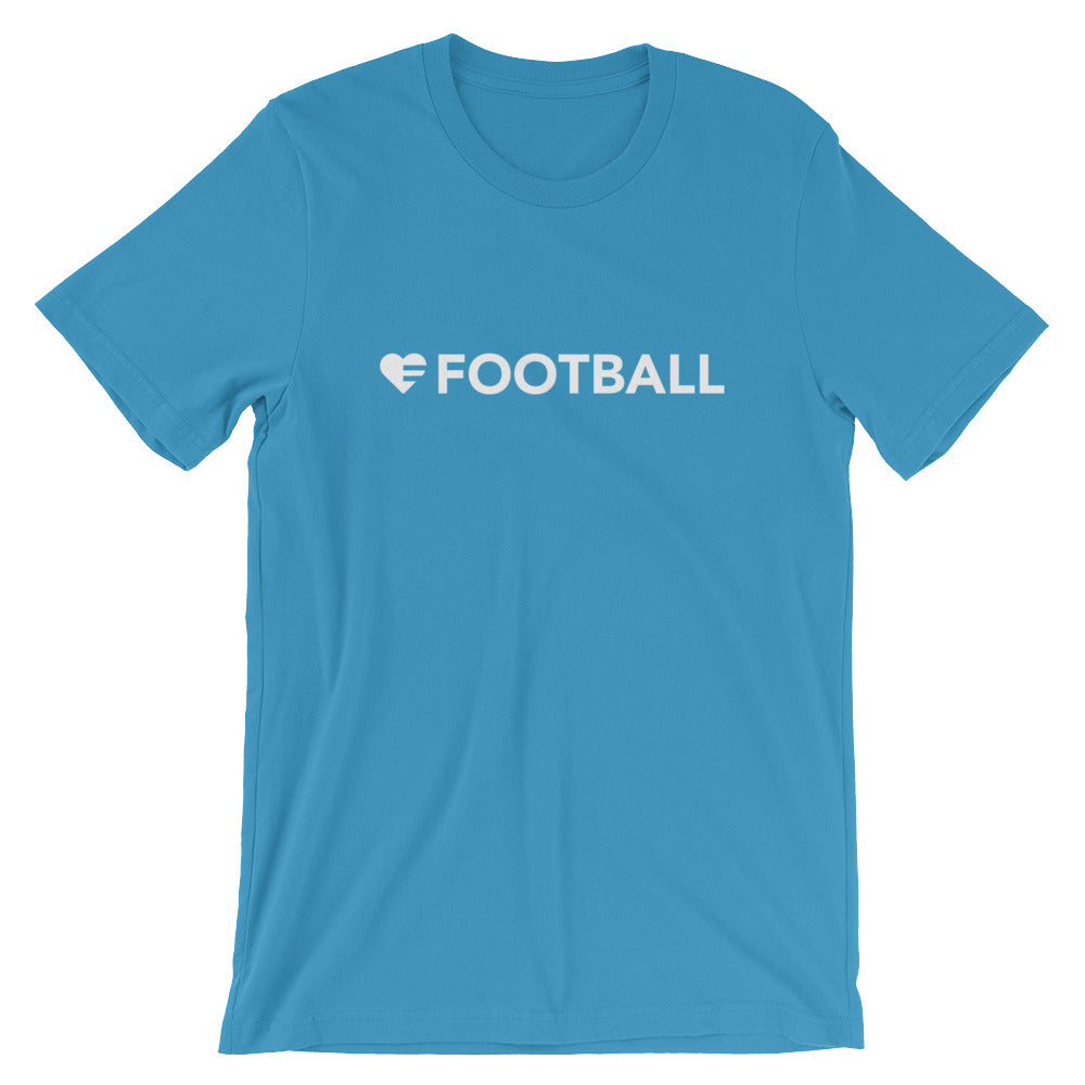 Ocean Blue Heart=Football Unisex Tee