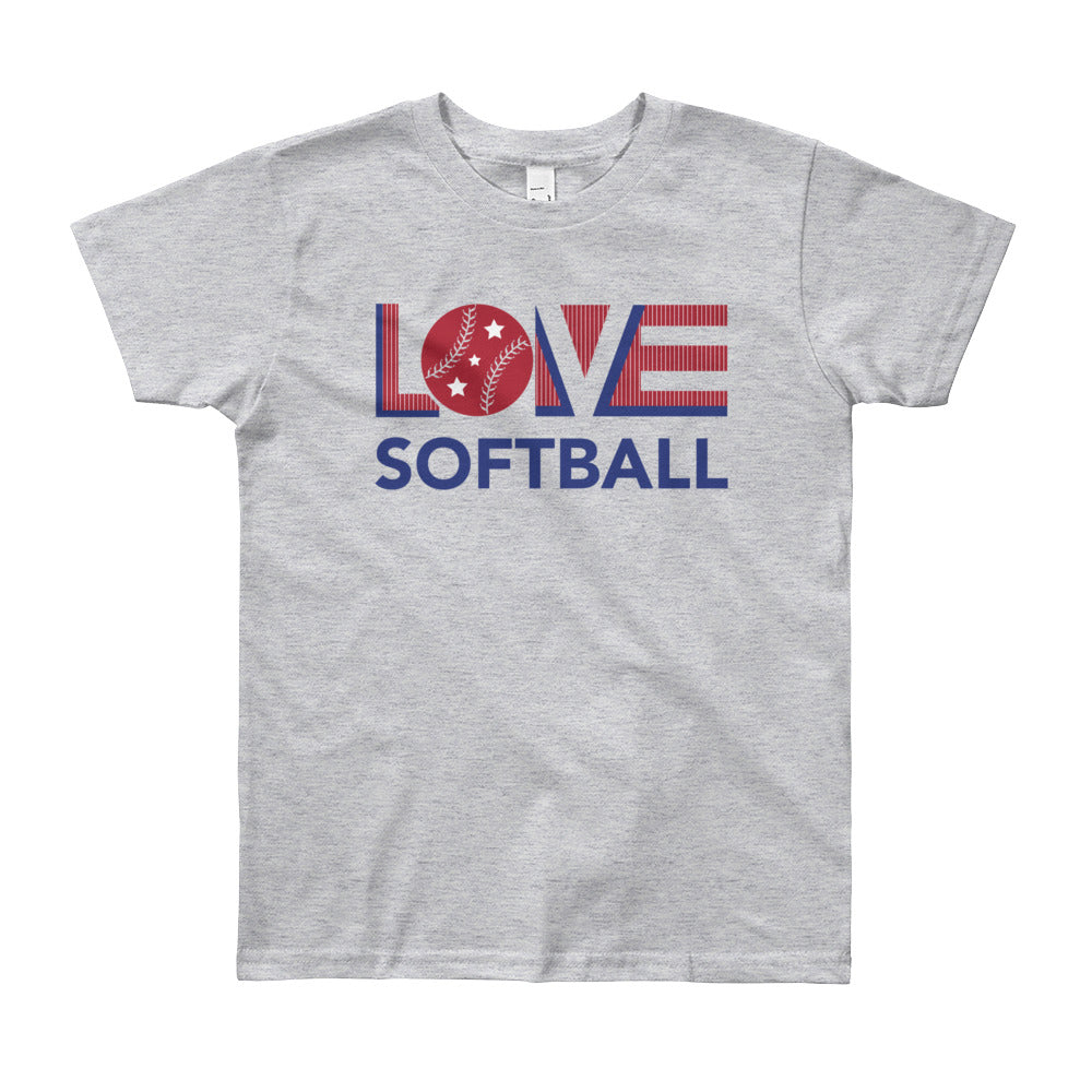 Heather grey LOV=Softball Unisex Tee