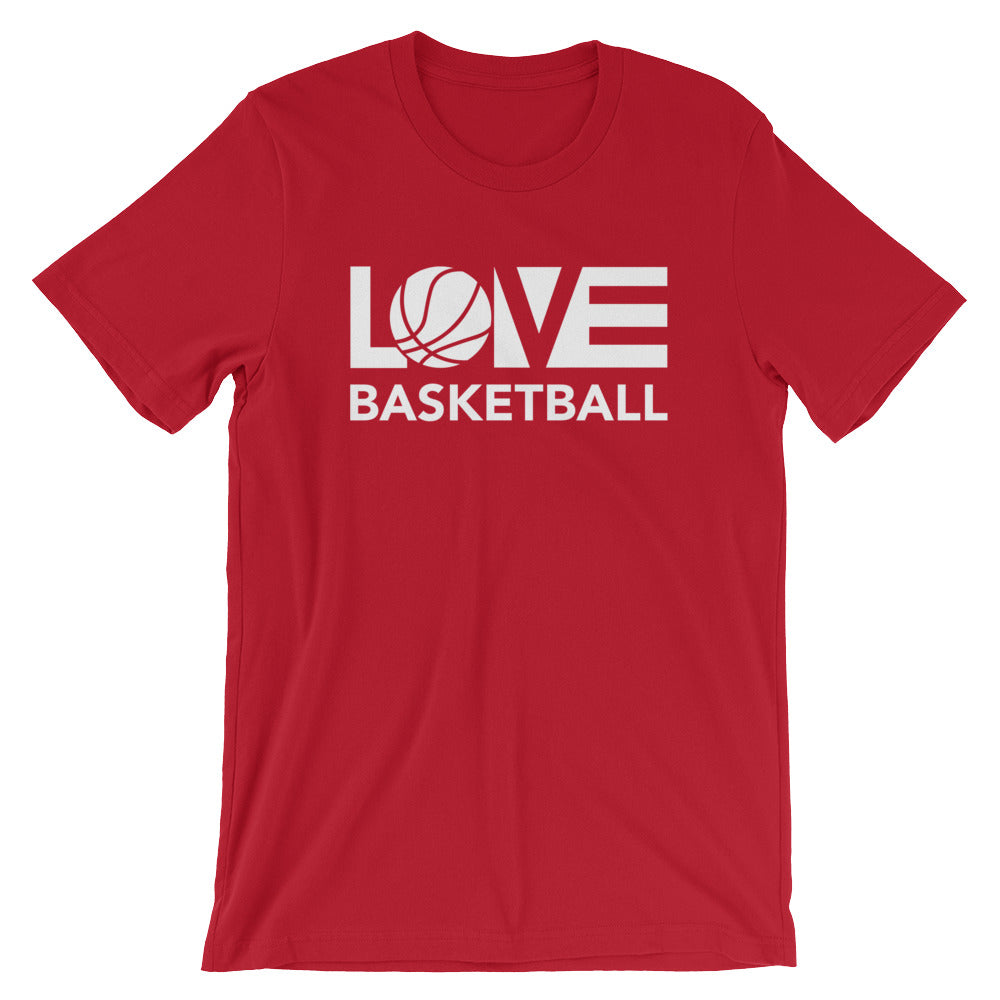 Red LOV=Basketball Unisex Tee