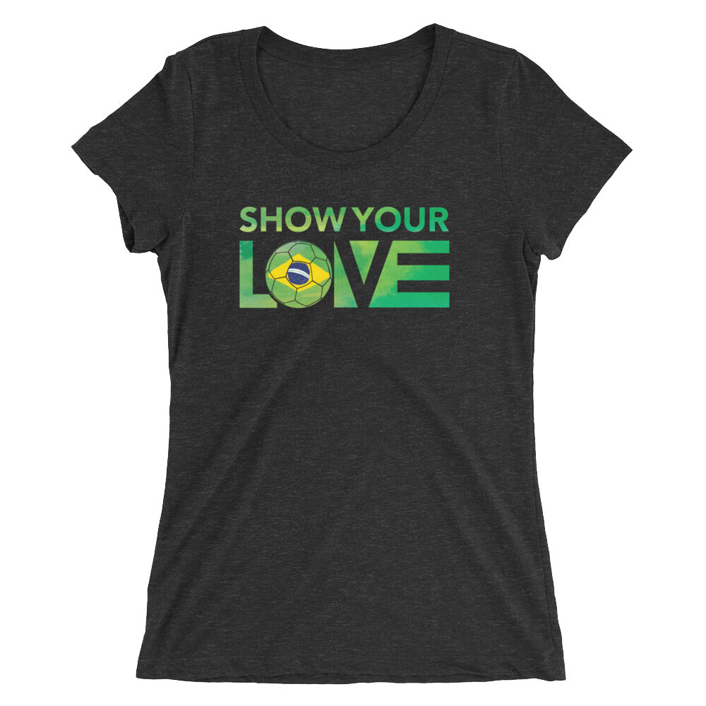Charcoal-Black Show Your Love Brazil Ultra Slim Fit Tee