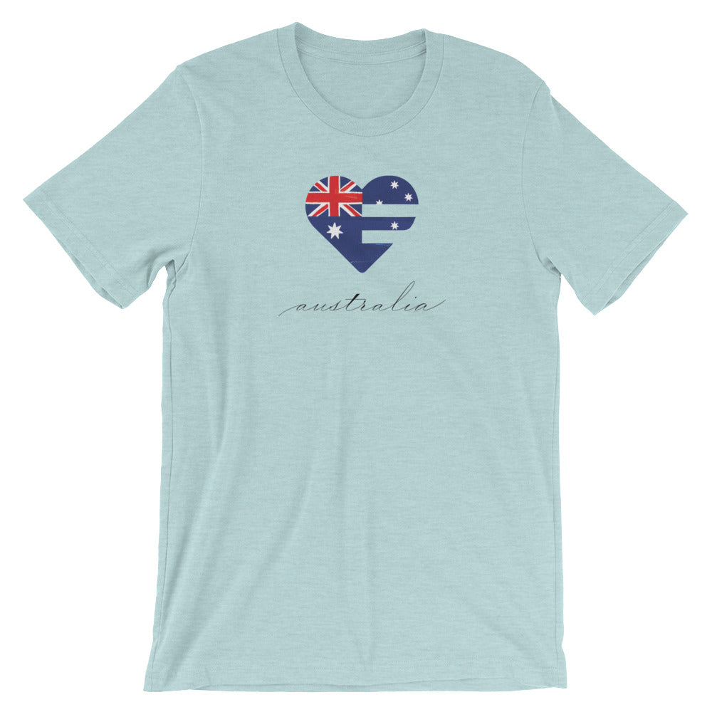 Heather Prism Ice Blue Australia Heart Unisex Tee