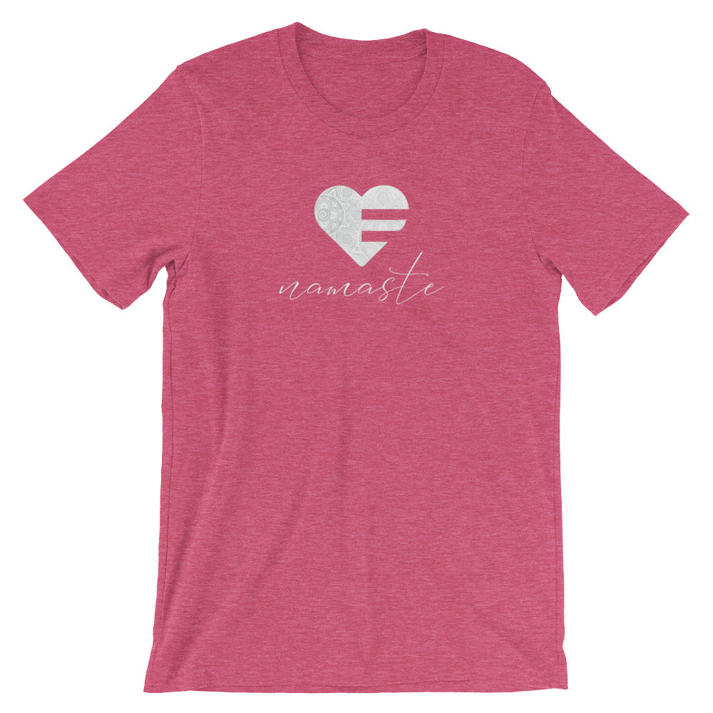 Heather Raspberry Heart Namaste Unisex Tee