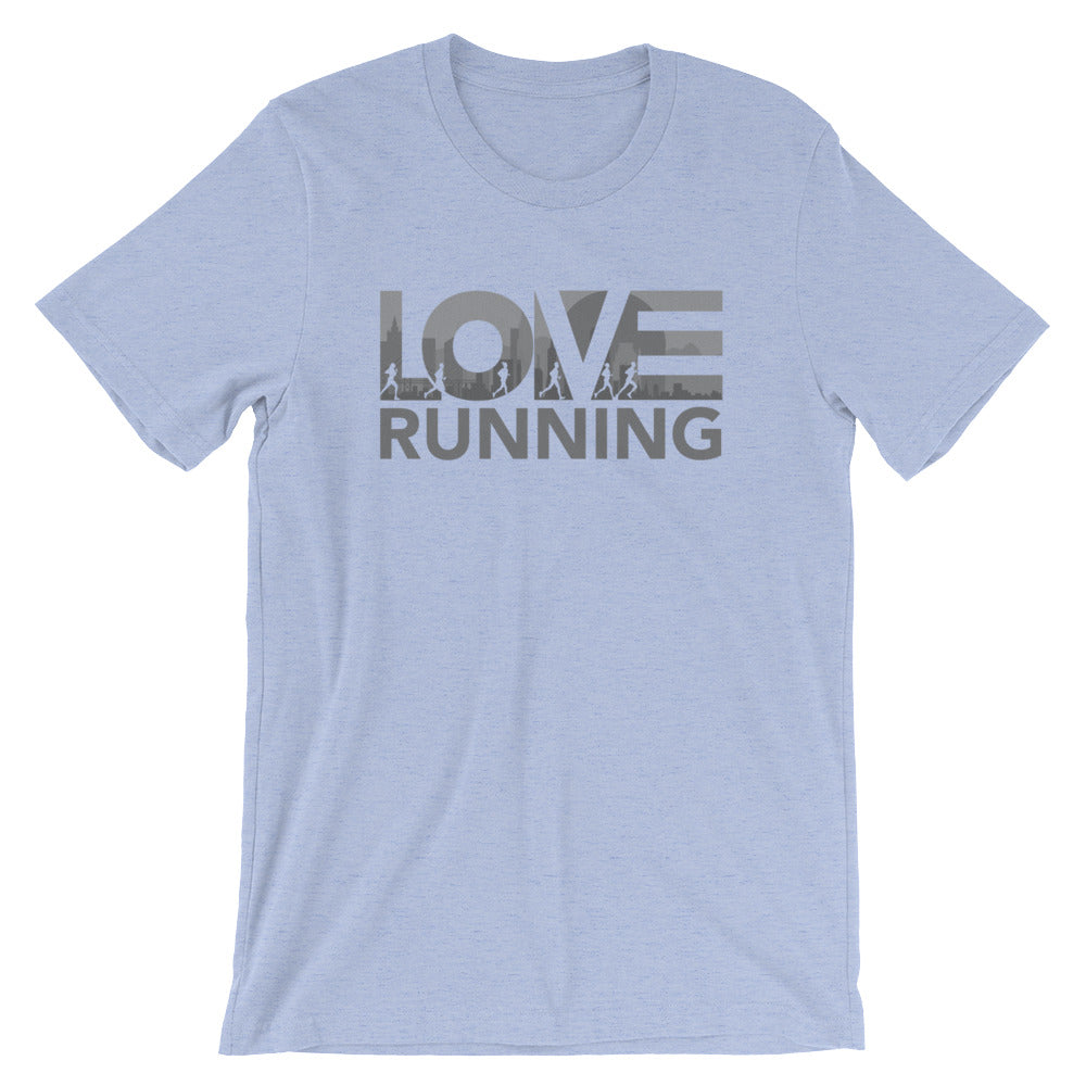 Heather blue LOV=Running Unisex Tee
