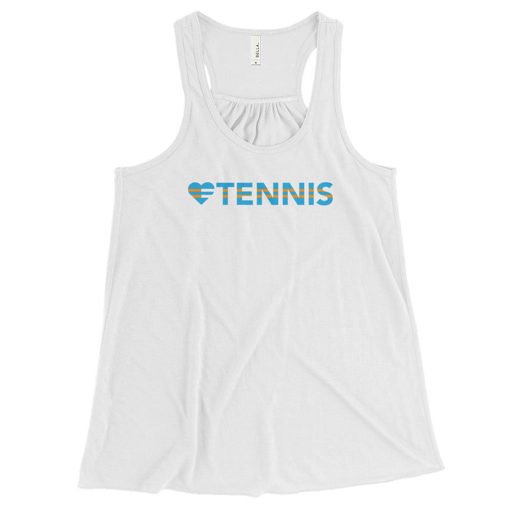 White Heart=Tennis Racerback Tank
