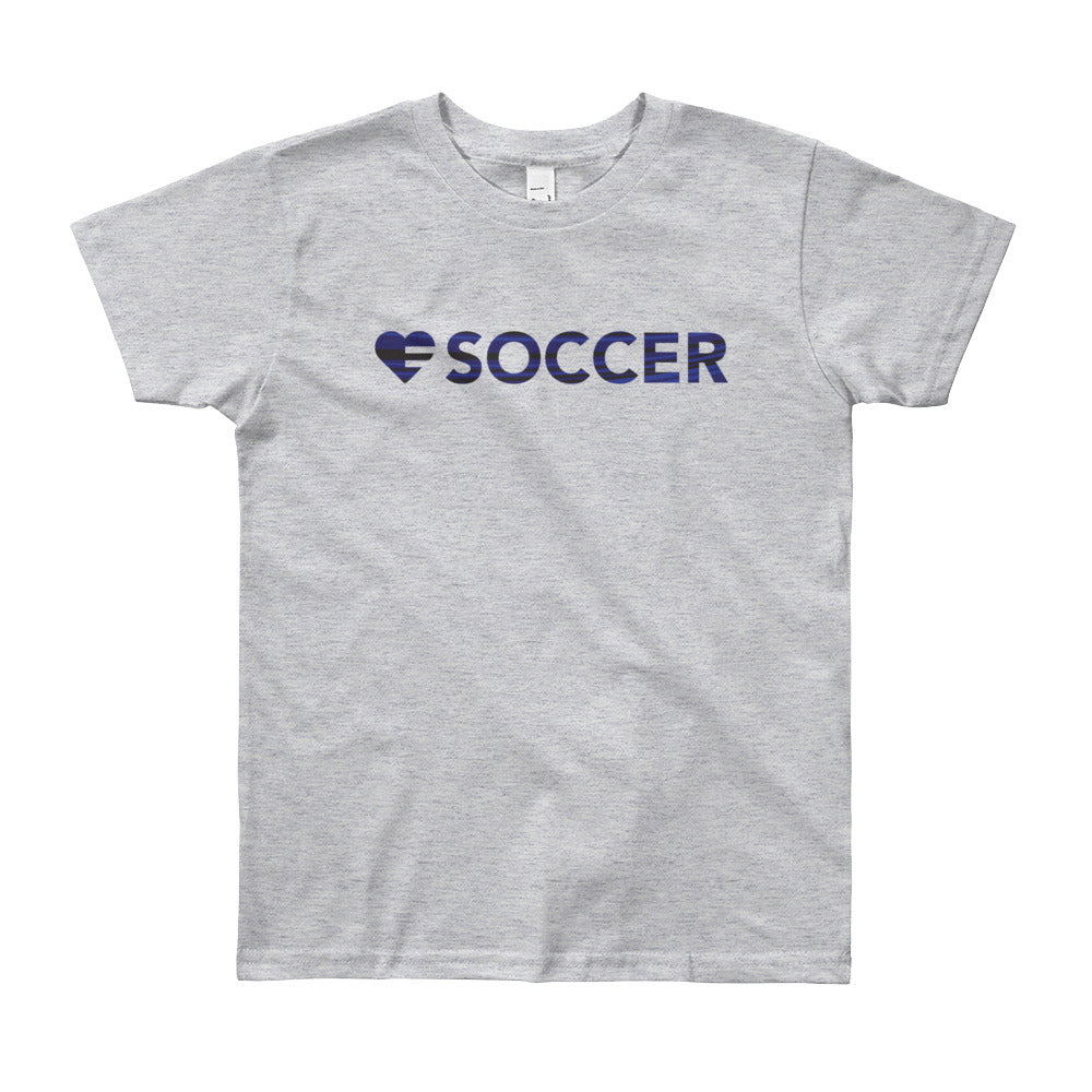 Heather Grey Heart=Soccer Youth Tee