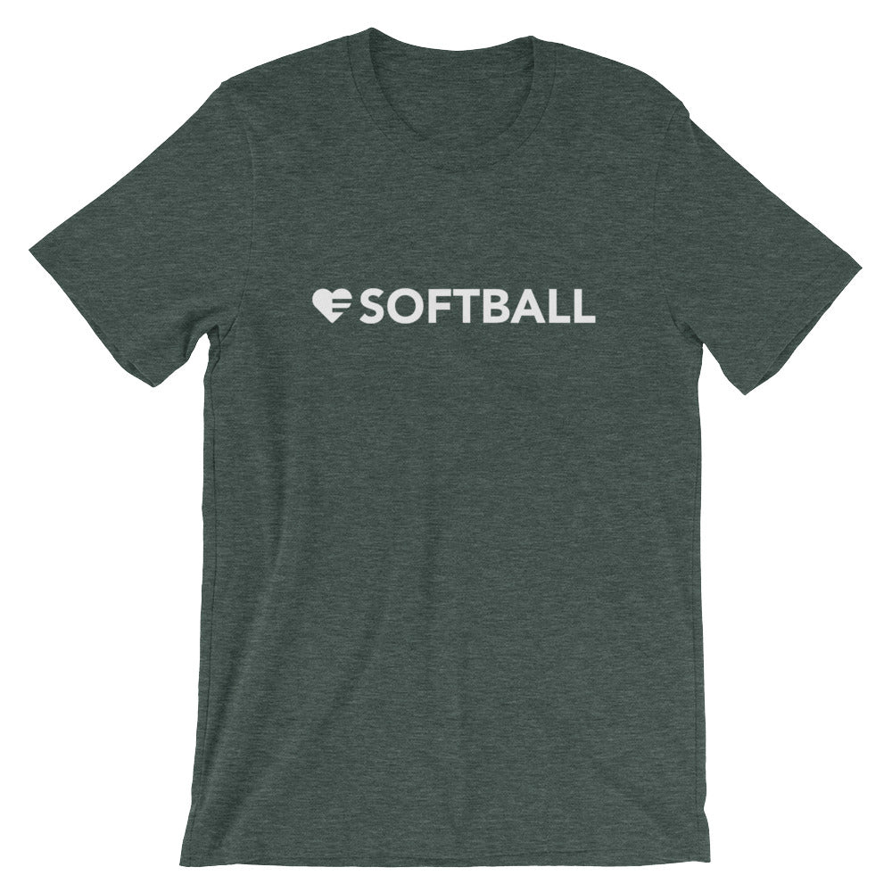 Heather Forest Heart=Softball Unisex Tee