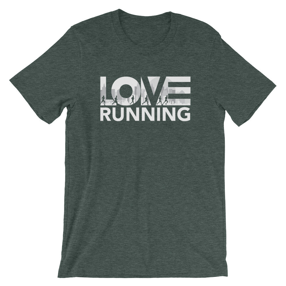 Heather forest LOV=Running Unisex Tee