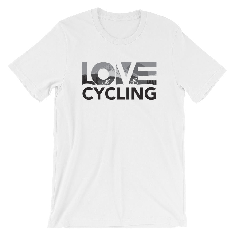 White LOV=Cycling Unisex Tee