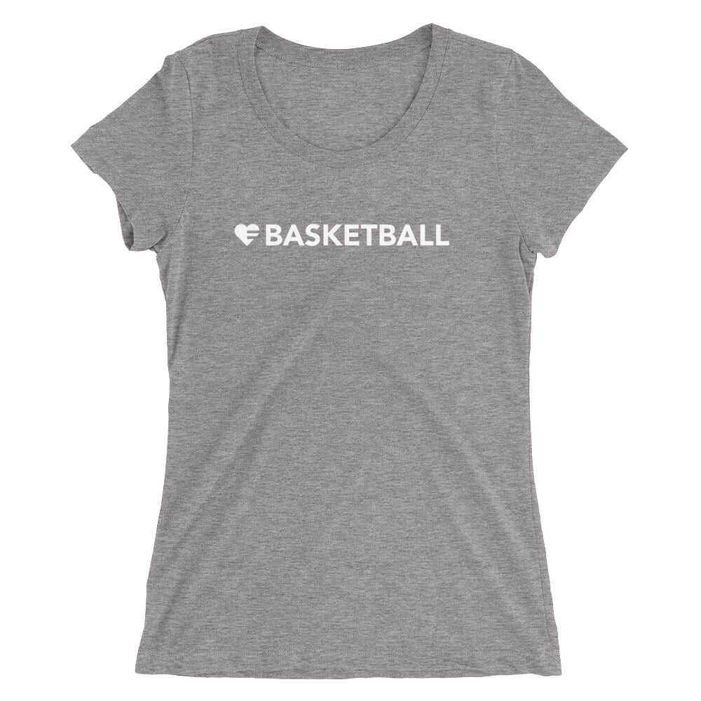 Grey Heart=Basketball Ultra Slim Fit Triblend Tee