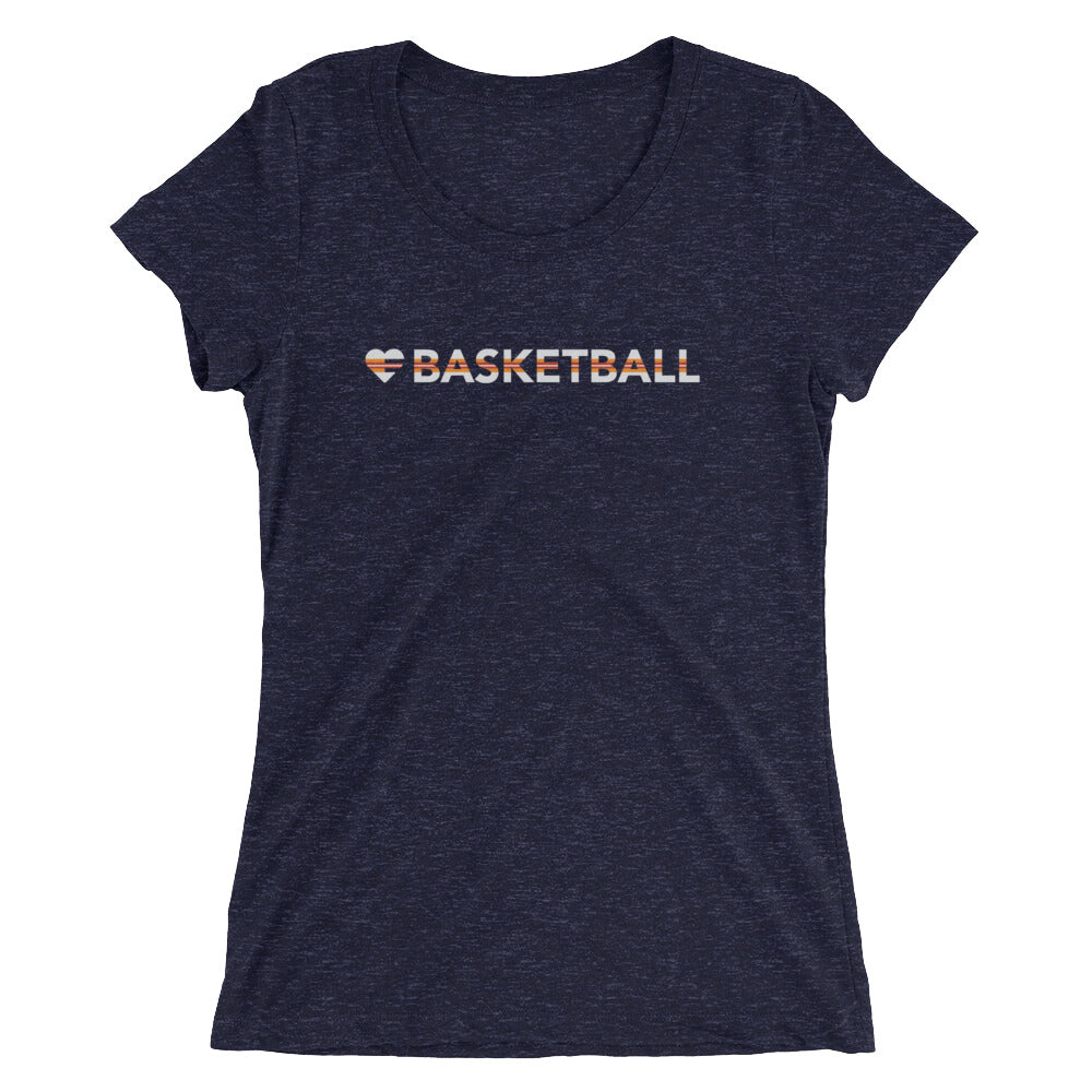 Navy Heart=Basketball Ultra Slim Fit Triblend Tee