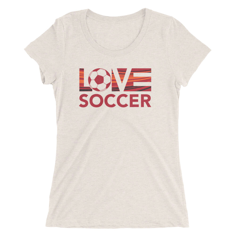 Oatmeal LOV=Soccer Ultra Slim Fit Triblend Tee