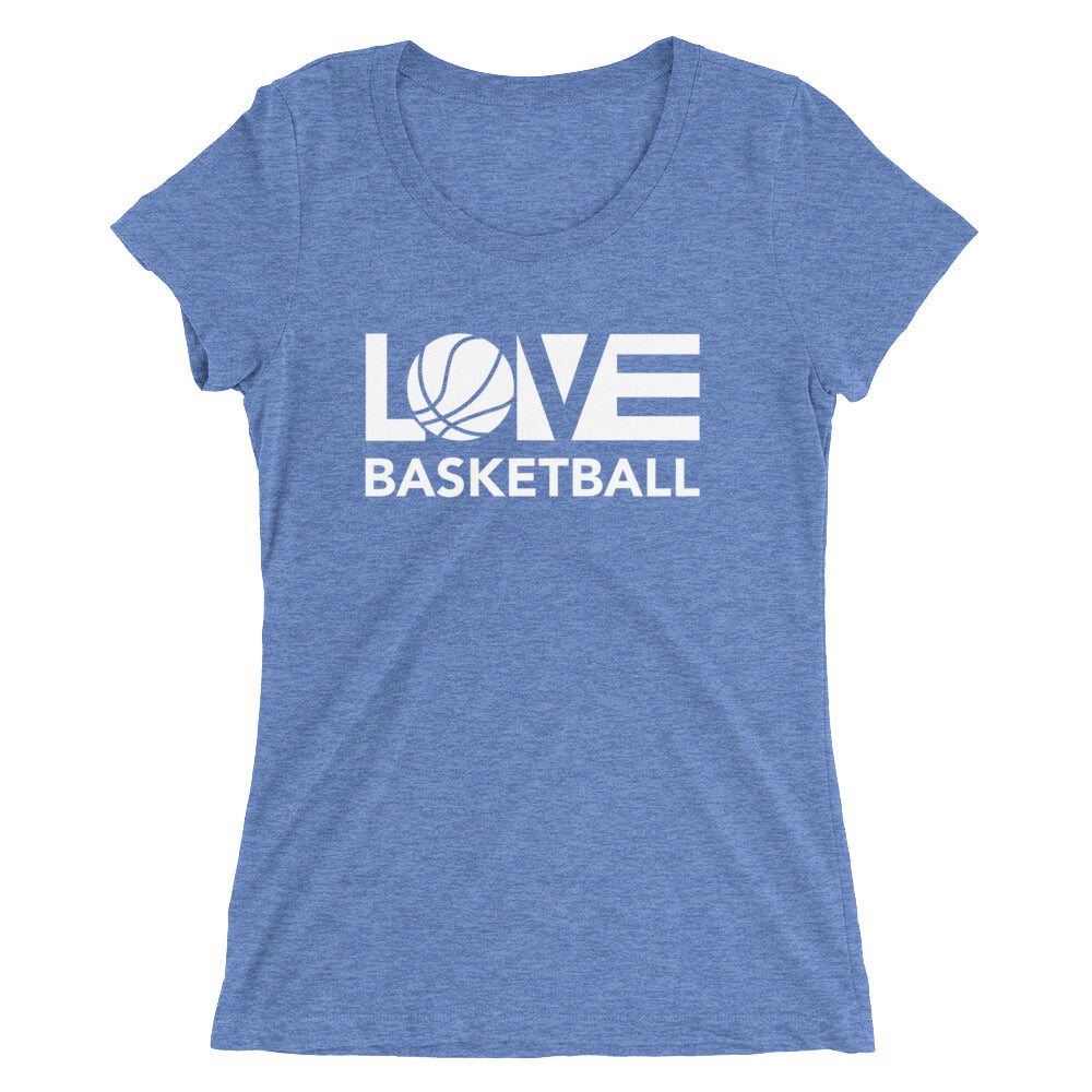 Blue LOV=Basketball Ultra Slim Fit Triblend Tee