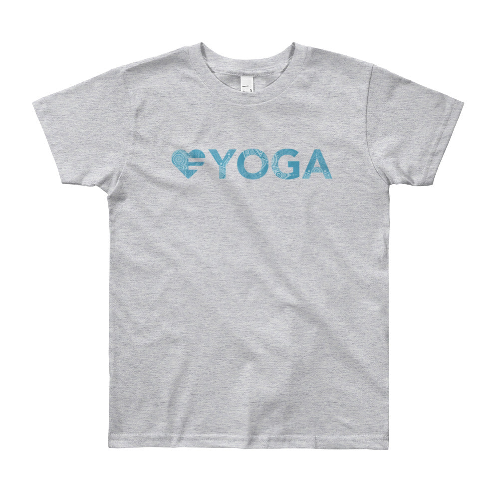 Heather grey Heart=Yoga Youth Tee