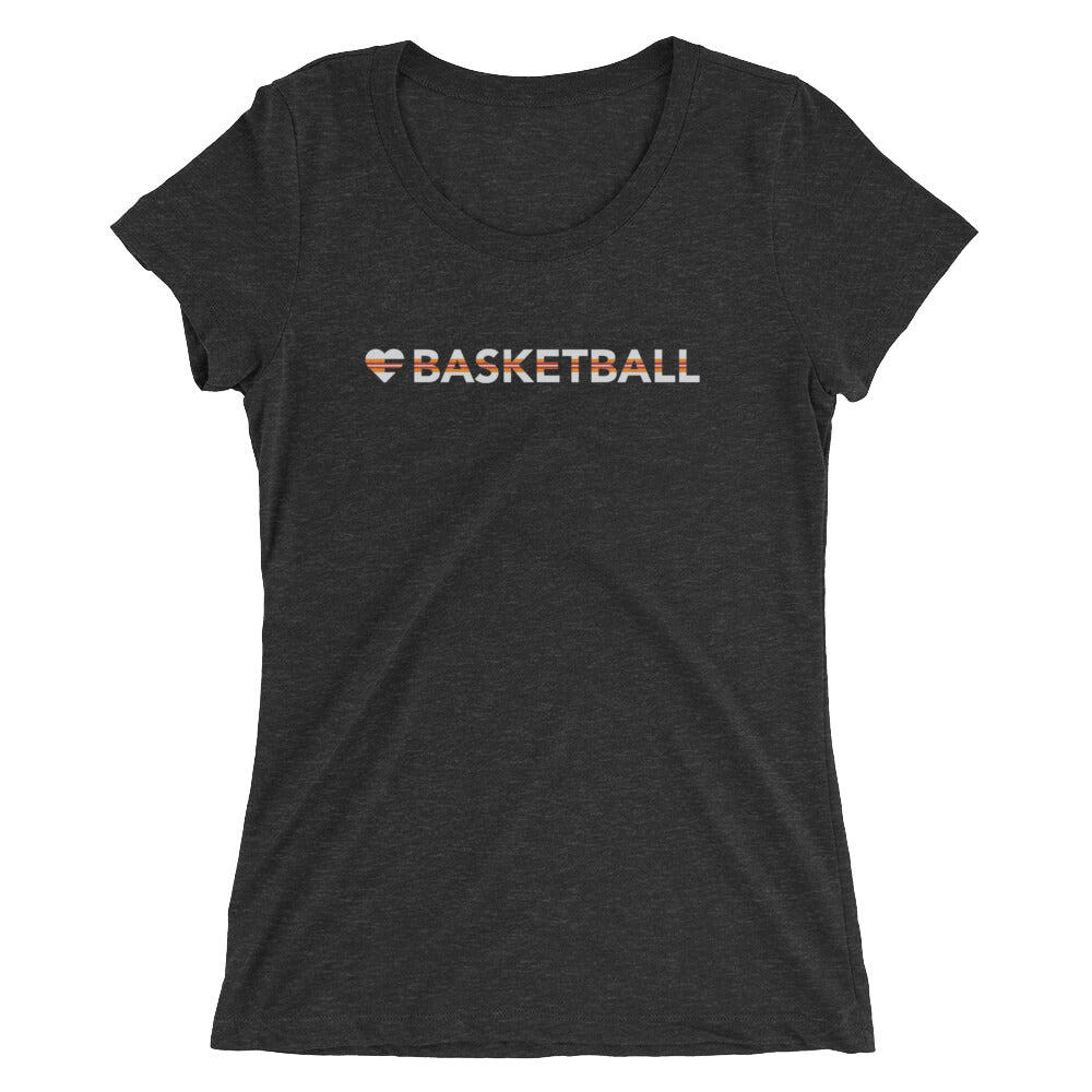 Charcoal Black Heart=Basketball Ultra Slim Fit Triblend Tee