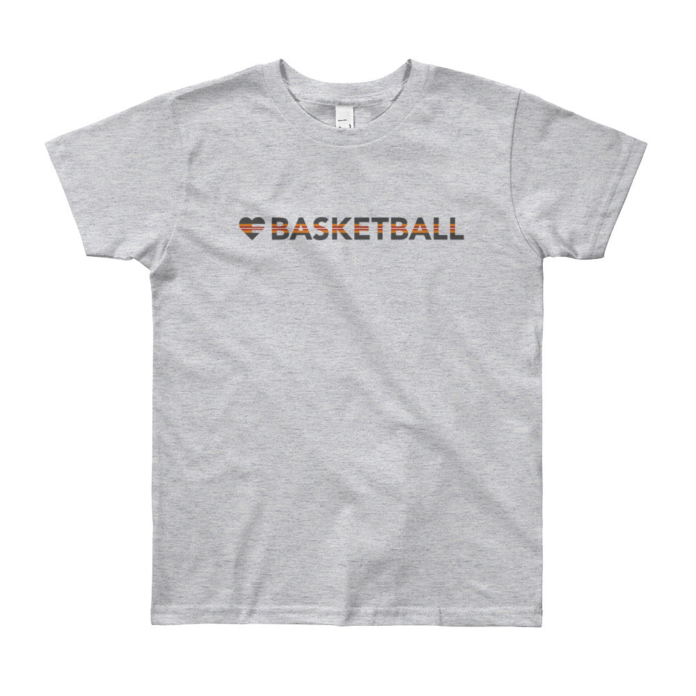 Heather Grey Heart=Basketball Youth Tee