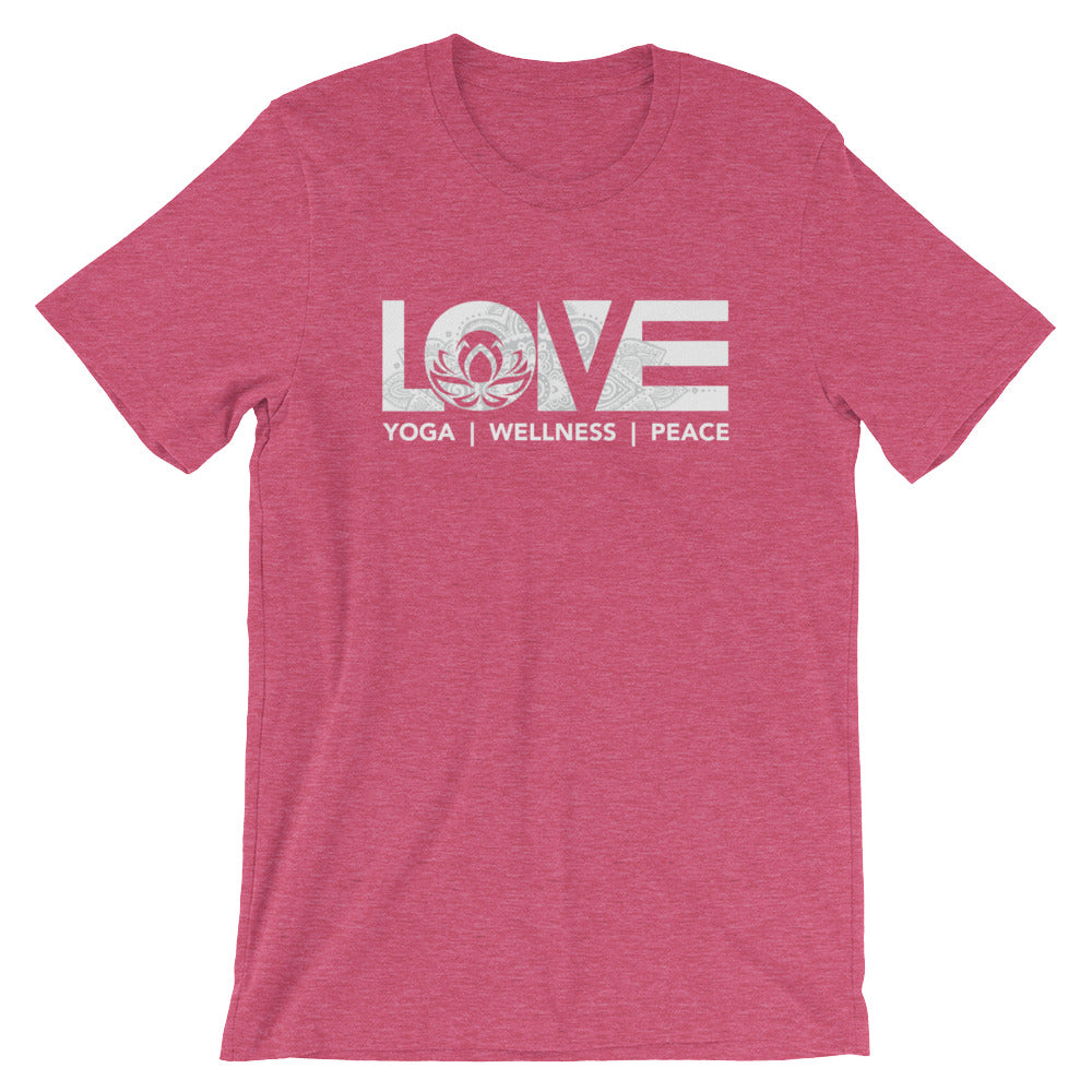 Heather Raspberry LOV=Yoga Unisex Tee