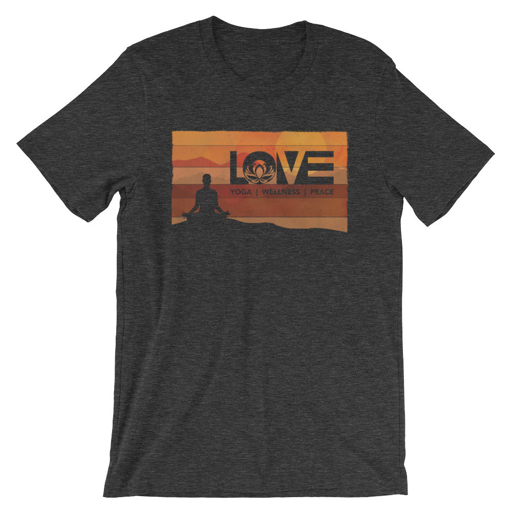 Dark Grey Heather LOV=Yoga Vintage Unisex Tee