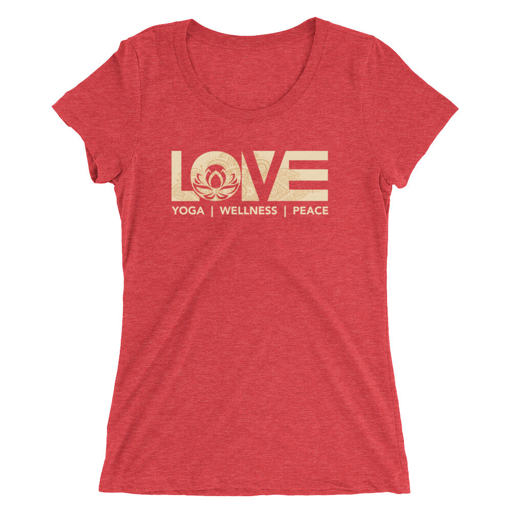Red LOV=Yoga Ultra Slim Fit Triblend Tee