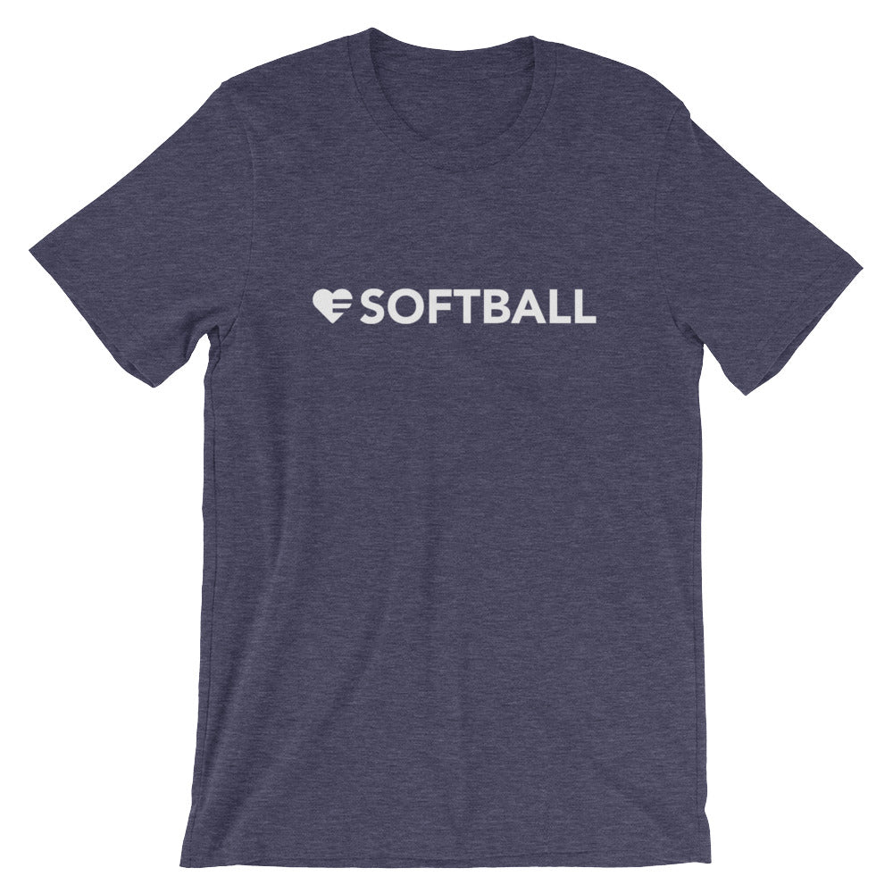 Heather midnight navy Heart=Softball Unisex Tee