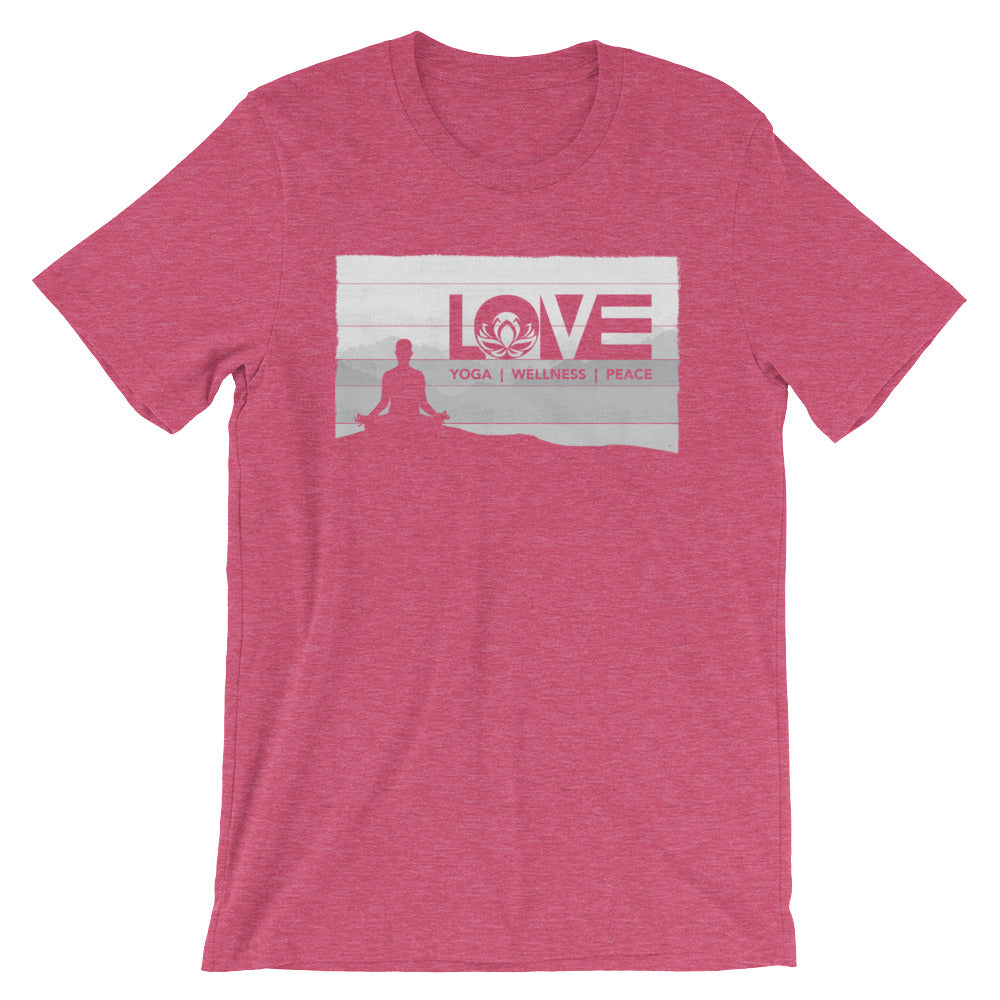 Heather Raspberry LOV=Yoga Vintage Unisex Tee