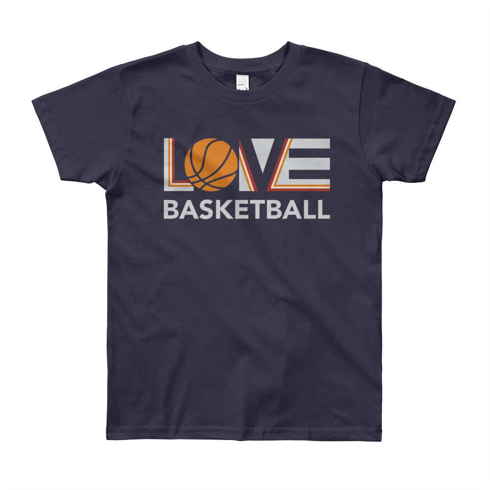 Navy LOV=Basketball Youth Tee
