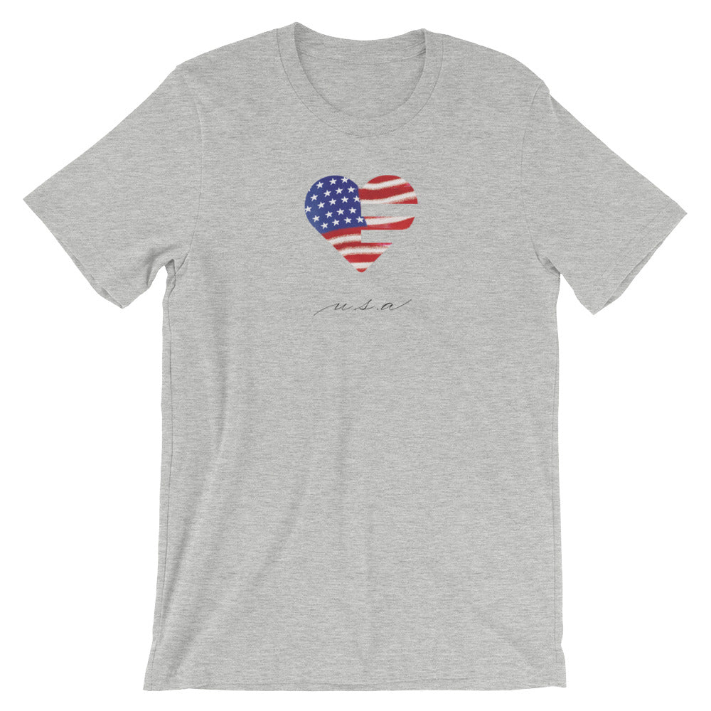 Athletic Heather USA Heart Unisex Tee