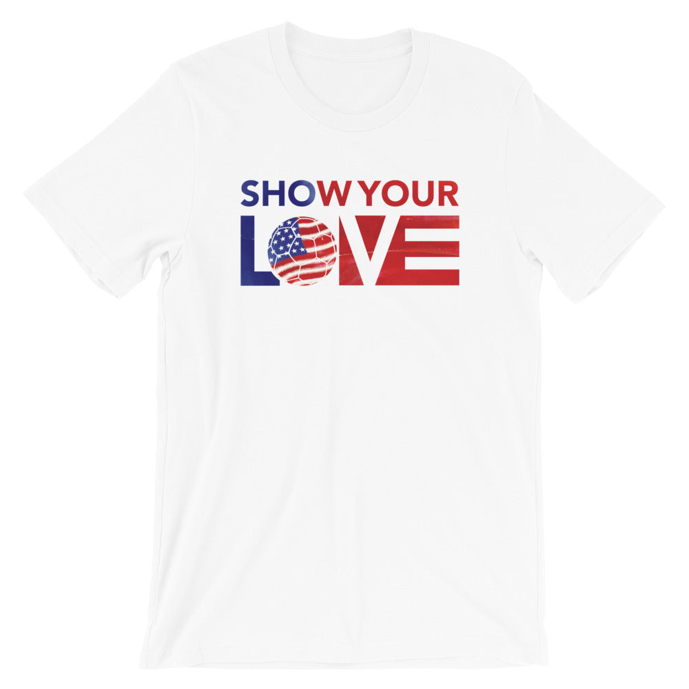 White Show Your Love USA Soccer Unisex Tee