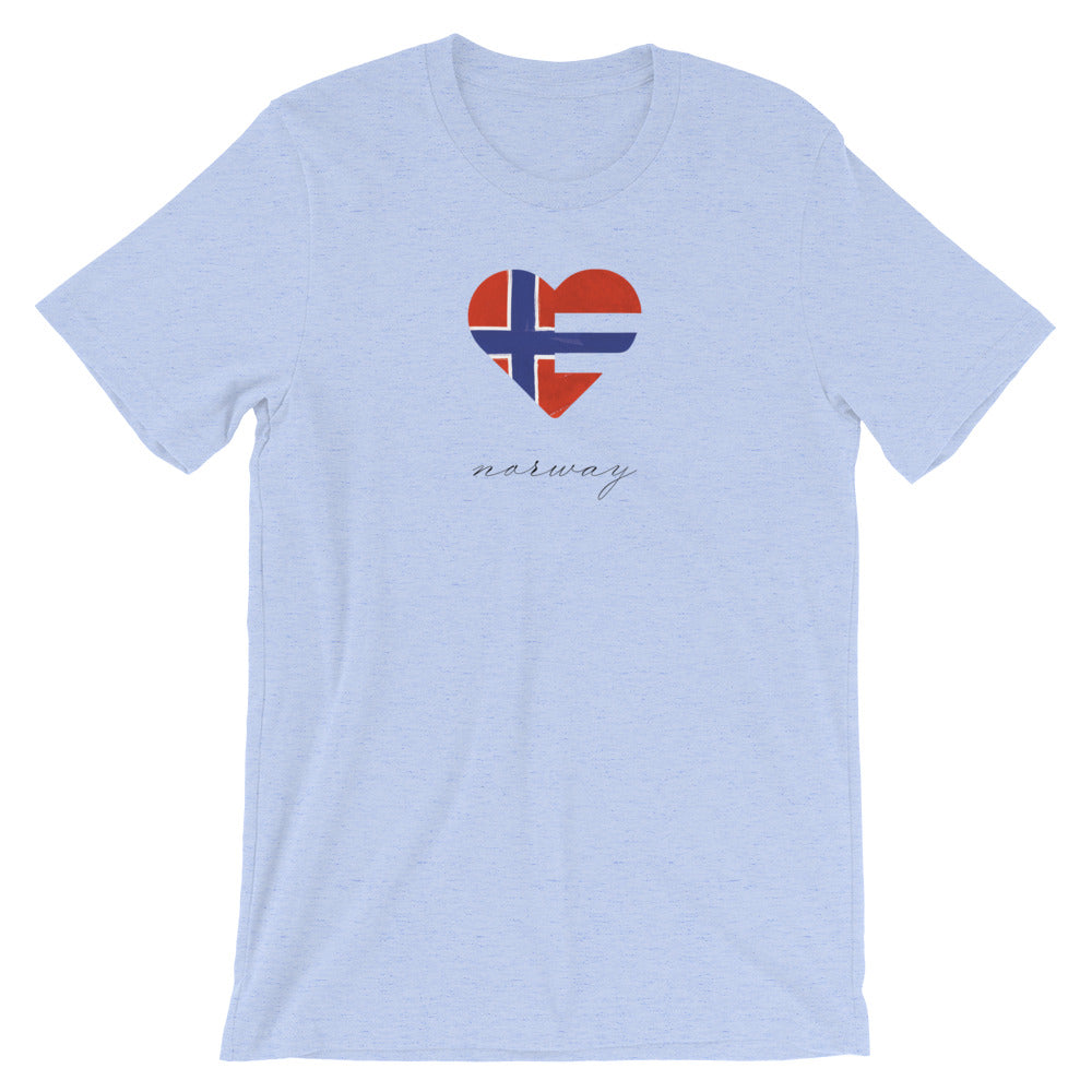 Heather Blue Norway Heart Unisex Tee