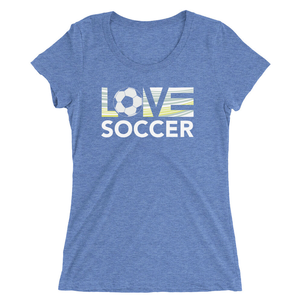 Blue LOV=Soccer Ultra Slim Fit Triblend Tee