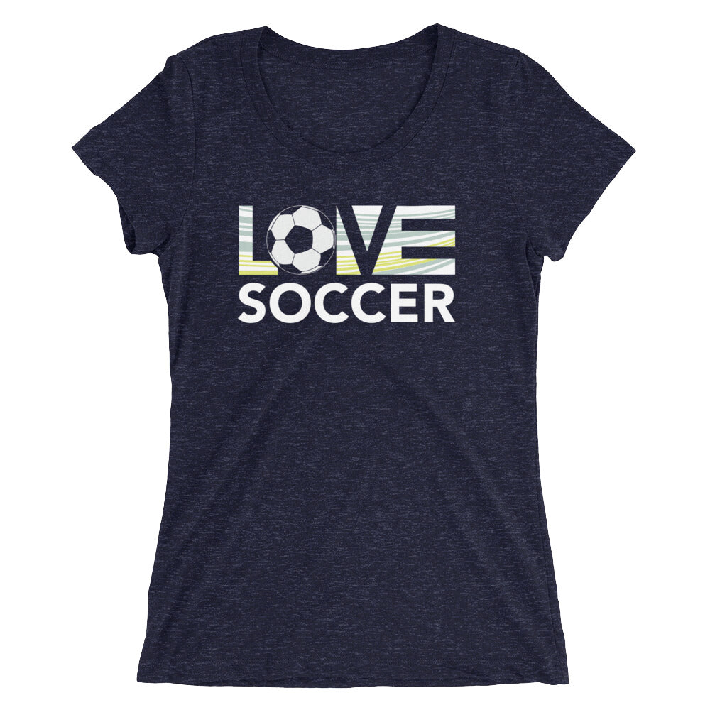 Navy LOV=Soccer Ultra Slim Fit Triblend Tee