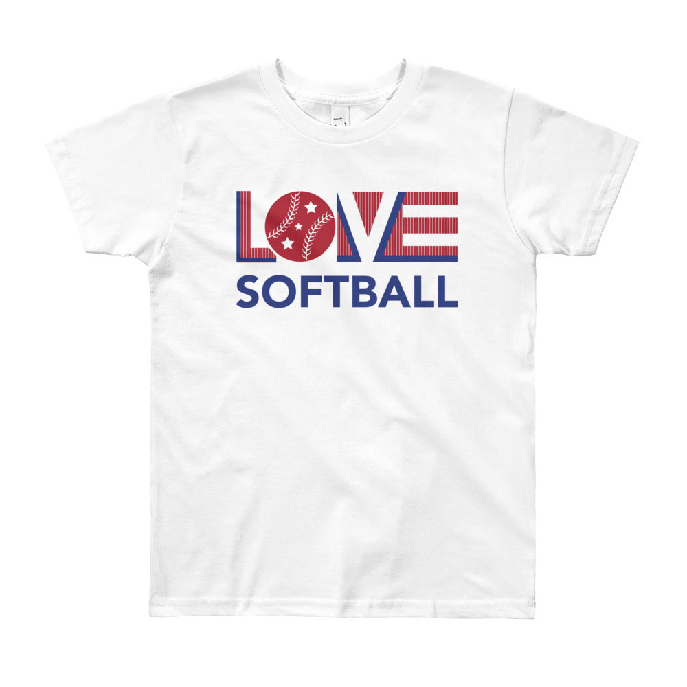 White LOV=Softball Unisex Tee