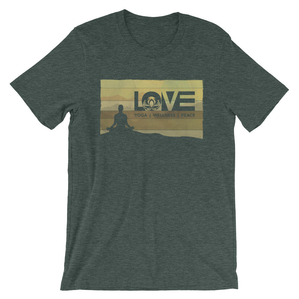 Heather Forest LOV=Yoga Vintage Unisex Tee
