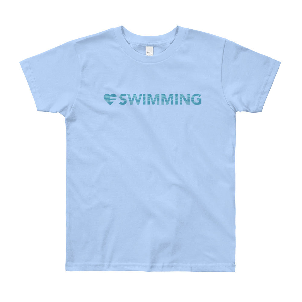 Baby blue Heart=Swimming Youth Tee