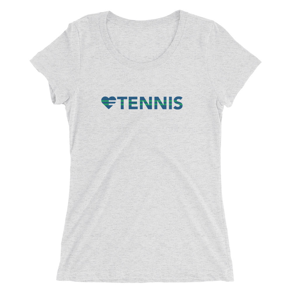 White Heart=Tennis Ultra Slim Fit Triblend Tee