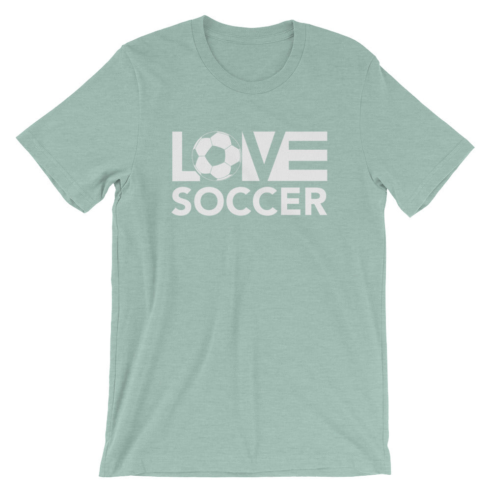 Heather prism dusty blue LOV=Soccer Unisex Tee