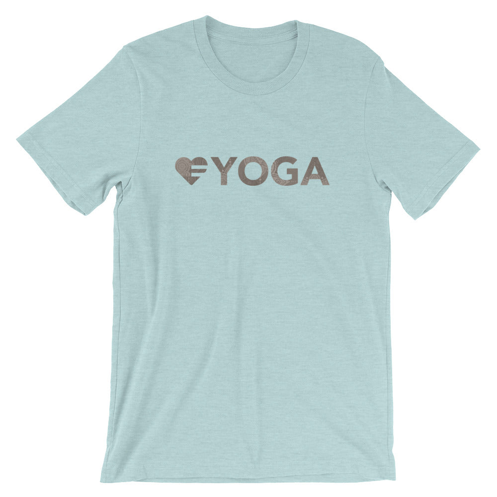 Ice blue Heart=Yoga Unisex Tee