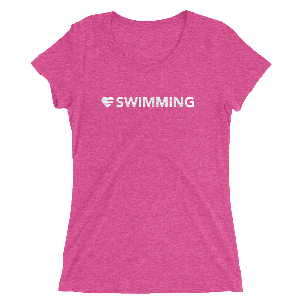Berry Heart=Swimming Ultra Slim Fit Triblend Tee