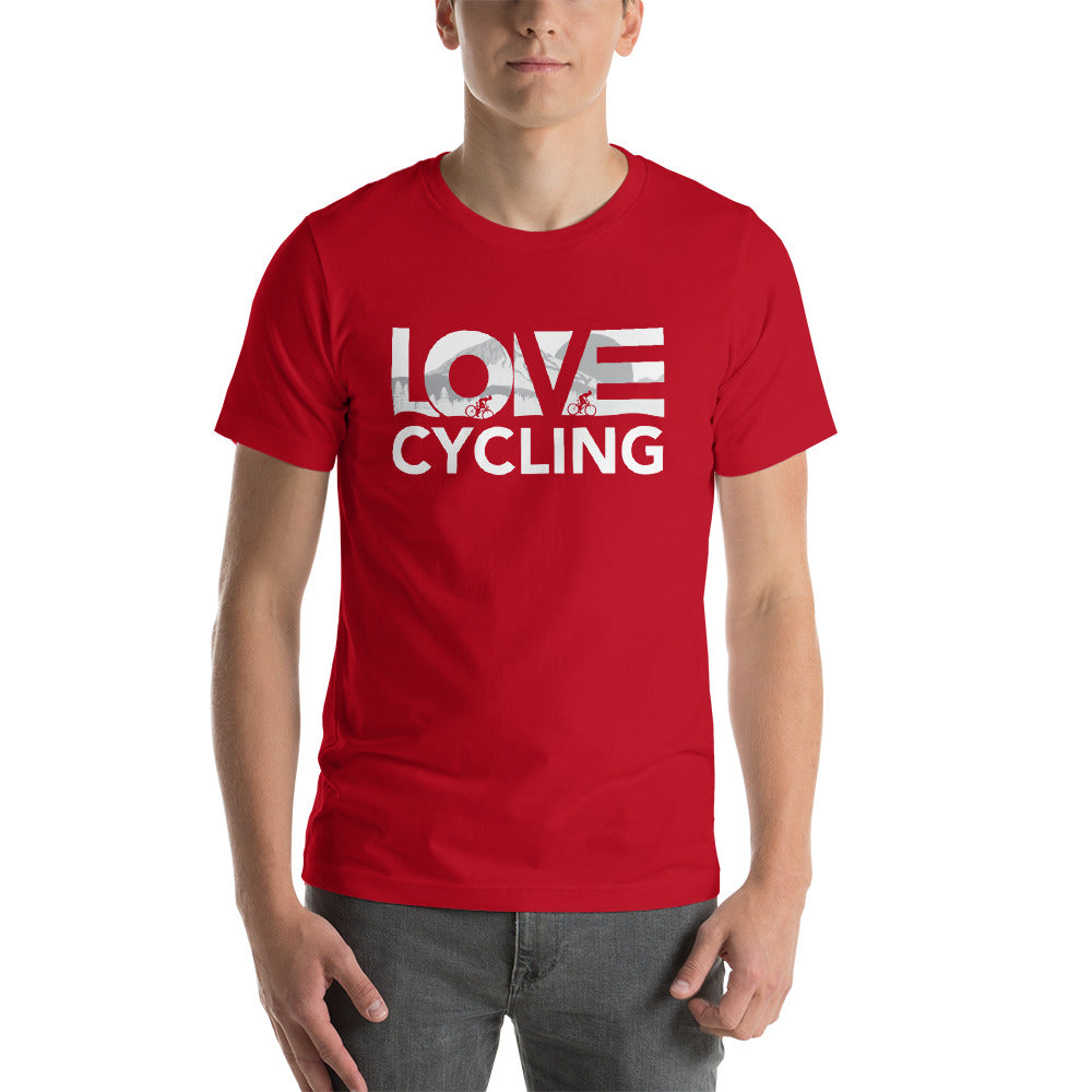 Red LOV=Cycling Unisex Tee