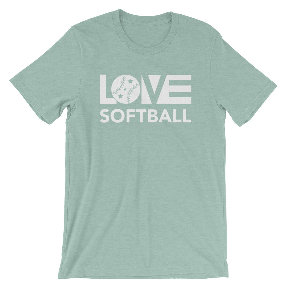 Dusty blue LOV=Softball Unisex Tee