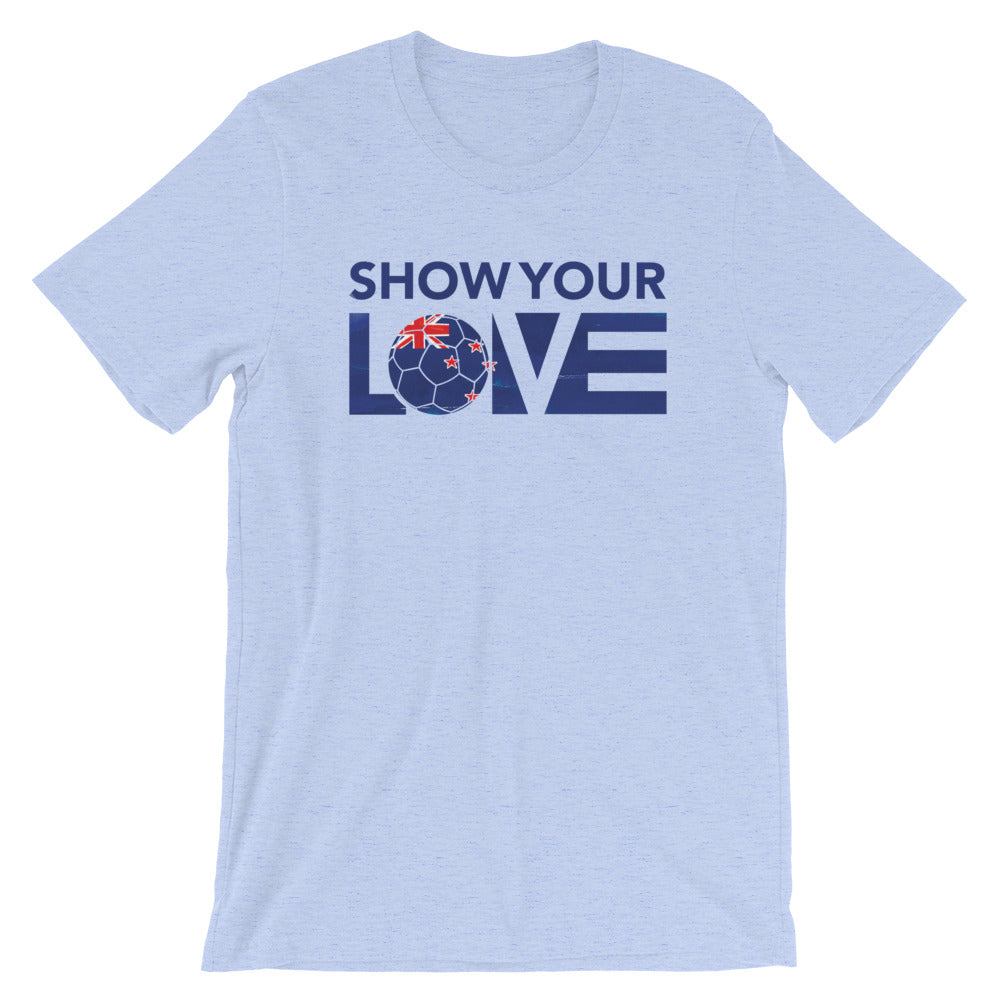 Heather Blue Show Your Love New Zealand Unisex Tee