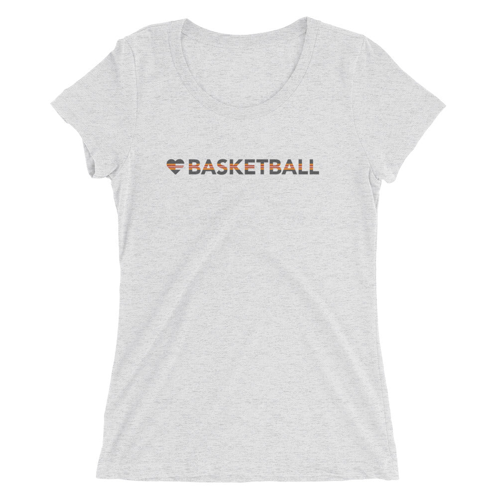 White Heart=Basketball Ultra Slim Fit Triblend Tee
