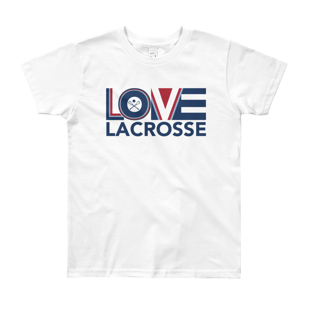 White LOV=Lacrosse Youth Tee