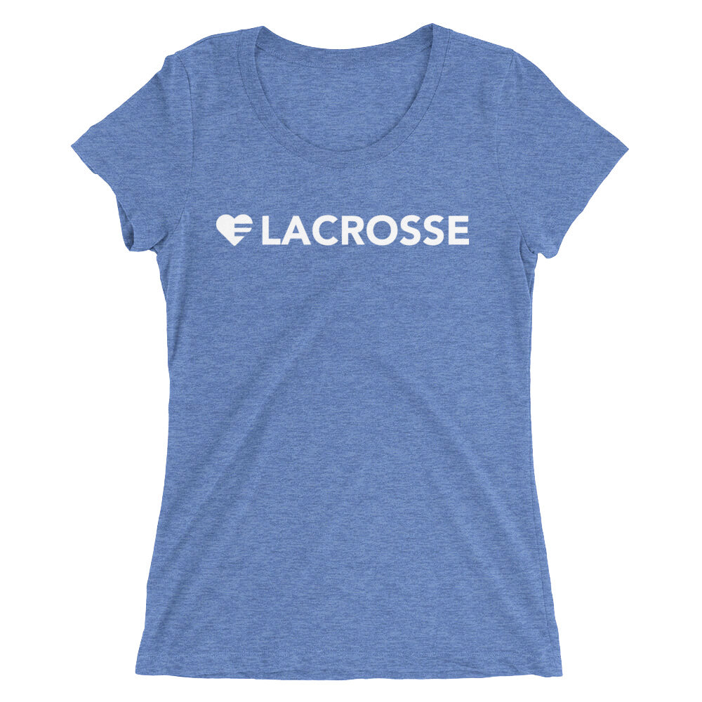 Blue Heart=Lacrosse Ultra Slim Fit Triblend Tee