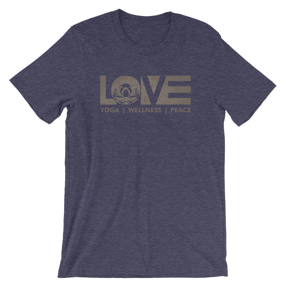 Heather Midnight Navy LOV=Yoga Unisex Tee