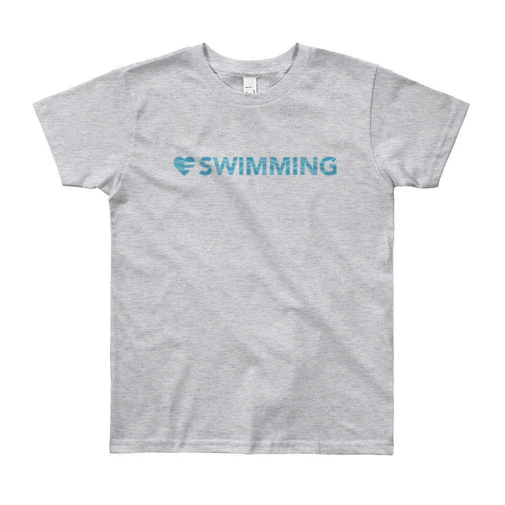 Heather grey Heart=Swimming Youth Tee