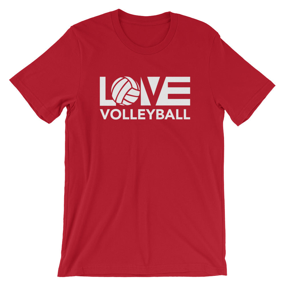 Red LOV=Volleyball Unisex Tee