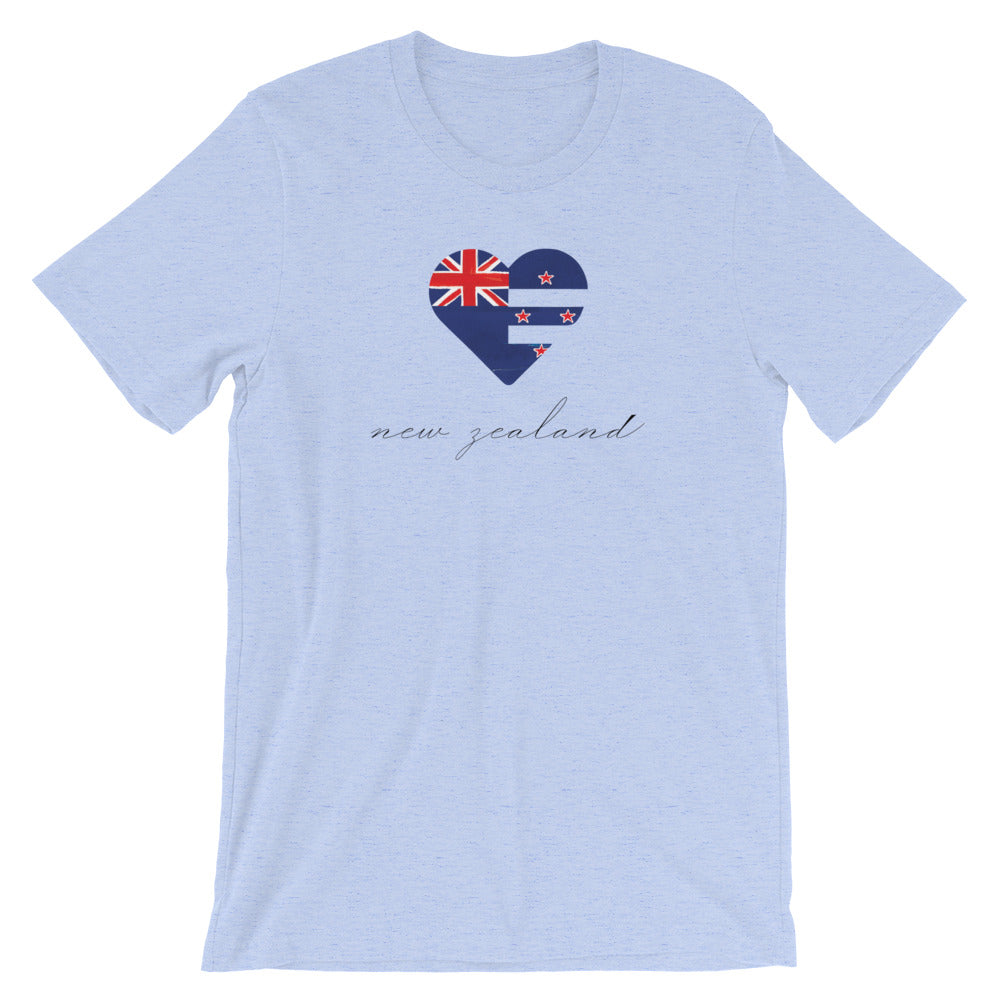 Heather Blue New Zealand Heart Unisex Tee